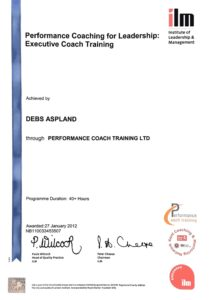 Certificate for Coaching qualification for Life Aspland