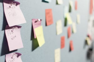 Busy post its scattered on a wall